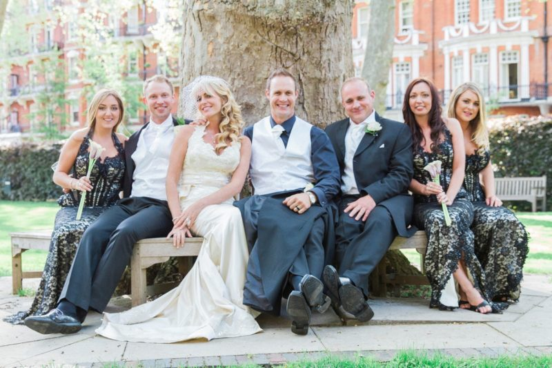 Bridal party in the garden