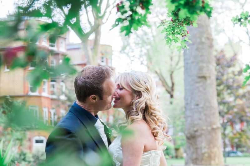 London Garden Wedding Bride and Groom