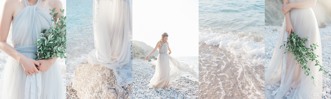 Maxeen Kim Wedding Photographer in Greece - Greek Bride on a Pebble Beach on Ithaca Island