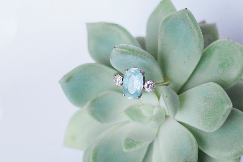 Vintage Topaz and Diamond Engagement Ring by Maxeen Kim Photography