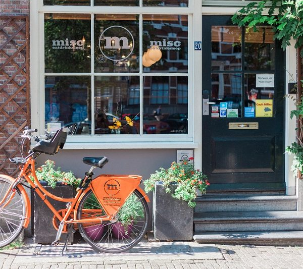 Bike Outside a Pub in Amsterdam, The Netherlands by Maxeen Kim Photography