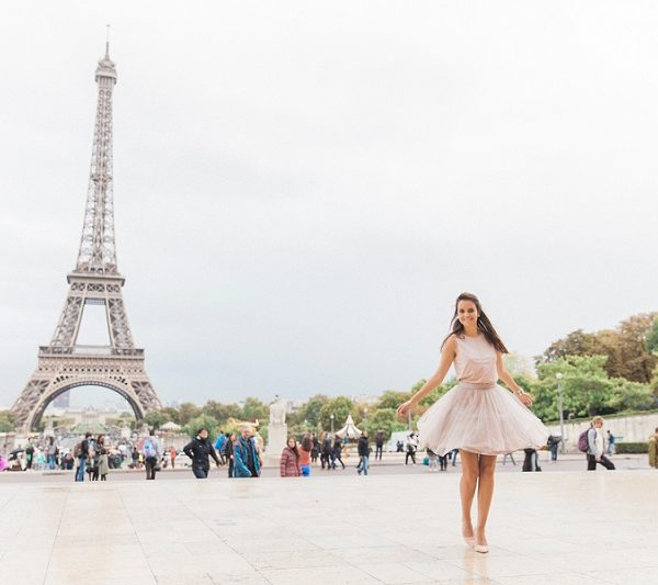 Pretty Pink Paris Wedding Inspiration with Bride Spinning in Front of the Eiffel Tower