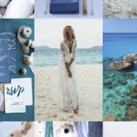 Blue Beach Wedding Inspiration Board by Maxeen Kim Photography, Greek and UK Wedding Photographer