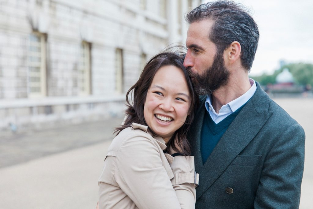 Couple During Their Royal Naval College Engagement in London