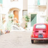 Red Vintage Fiat in Vasto, Italy by Maxeen Kim Photography