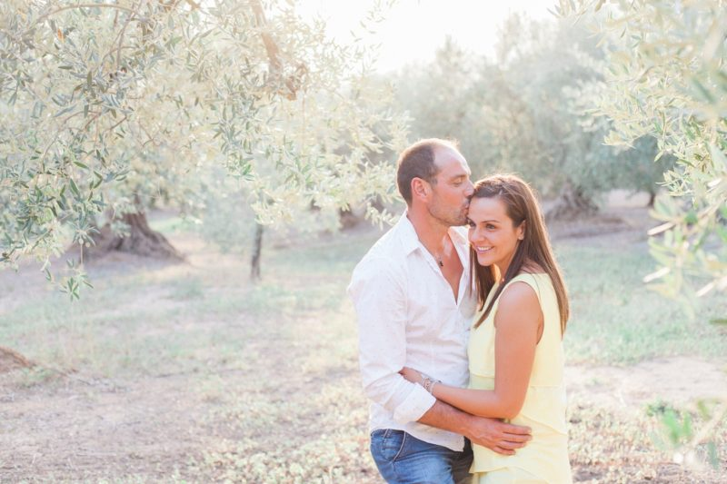 Sunset Italian engagement in an olive grove