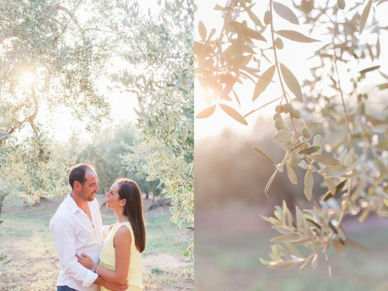 Italian Olive Grove Engagement in Chieuti at sunset