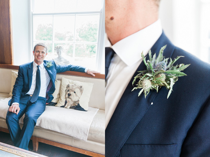 Groom Wearing Thistle Buttonhole