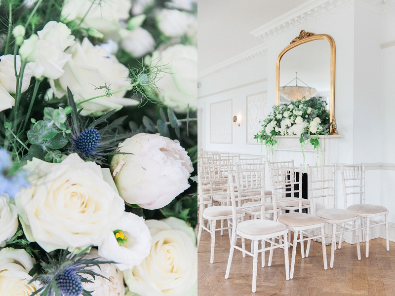 Blue and White Flowers and Chairs in Ceremony Room