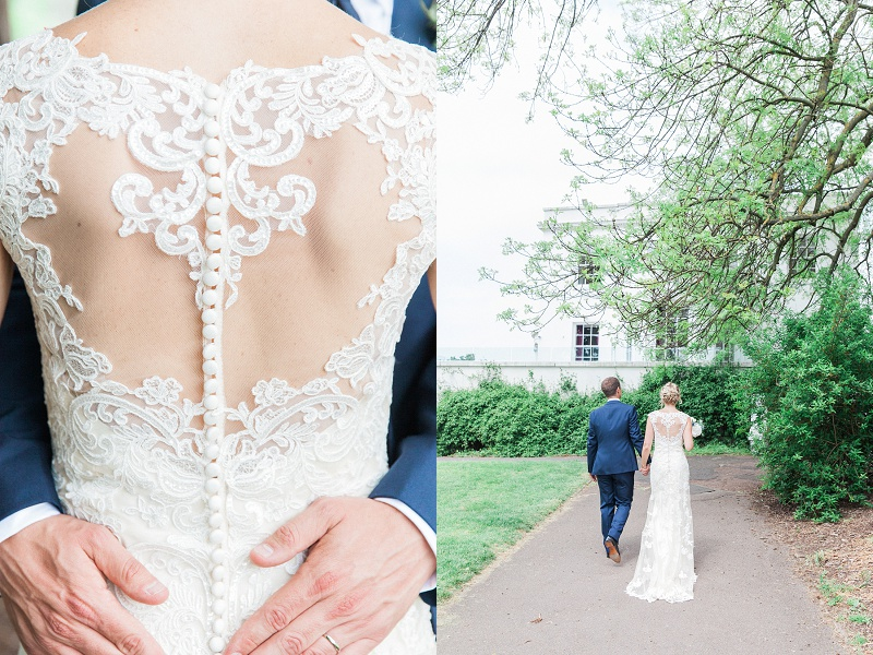Bride in Maggie Sottero Illusion Back Dress