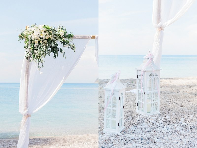 Pastel Beach Wedding Ceremony Details and Flowers at Agios Nikitas Lefkada