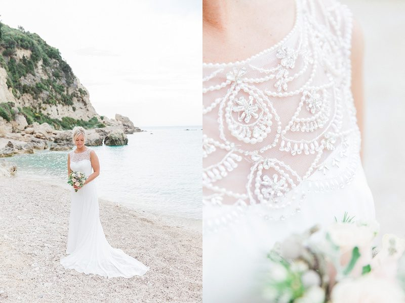 Bride on Agios Nikitas Beach and Close Up of Her Beaded Maggie Sottero Gown