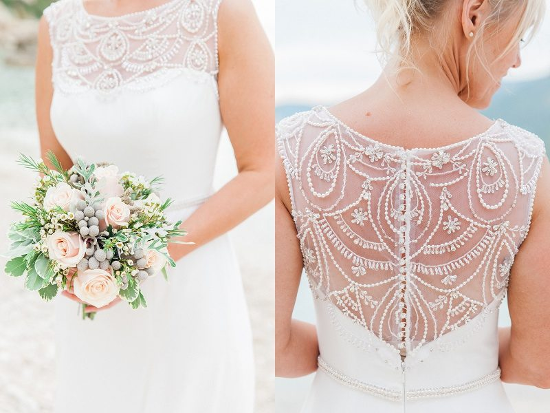 Brides Bouquet and Back of Her Beaded Maggie Sottero Gown