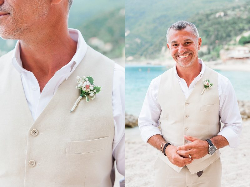 Grooms Portraits on the Beach at Agios Nikitas