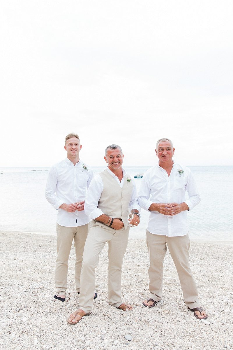 Groom and His Groomsmen On the Beach at Agios Nikitas