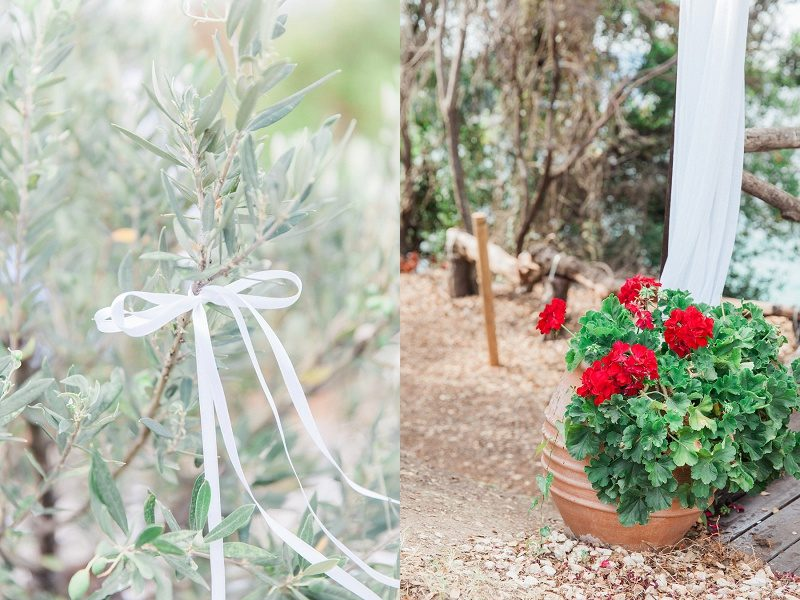 White Ceremony Details and Red Flowers For the Bohemian Garden Wedding at Ionain Blue