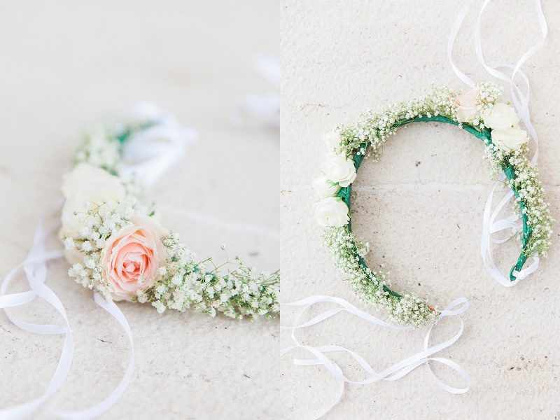 Close Up of Brides Flower Crown with Baby's Breath and Blush Roses