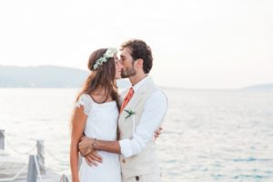 Intimate Portrait of Italian Bride and Groom on Lefkada Greece