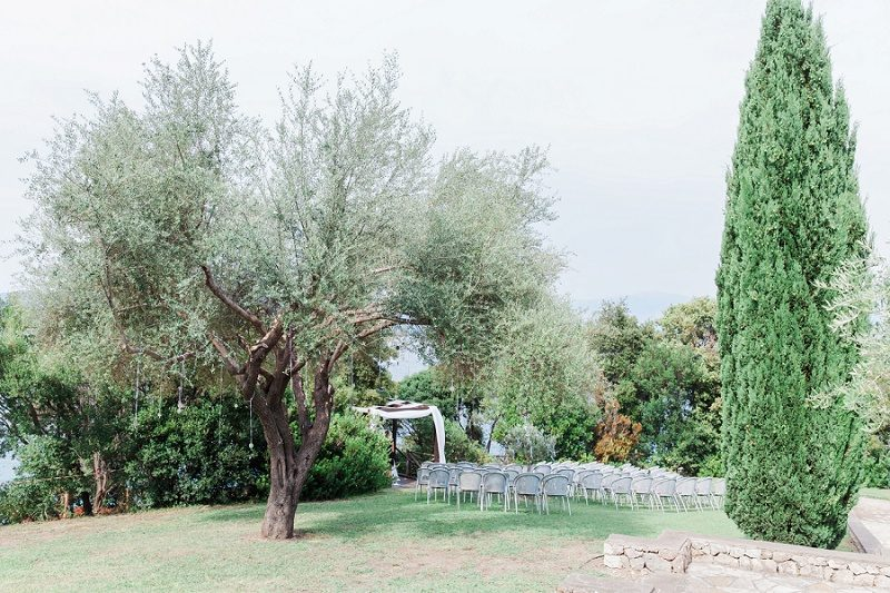 Beautiful Bohemian Garden Ceremony Area at Ionian Blue