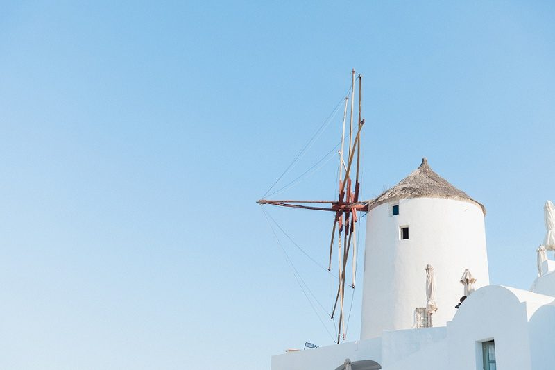 White Windmill in Oia Santorini Greece