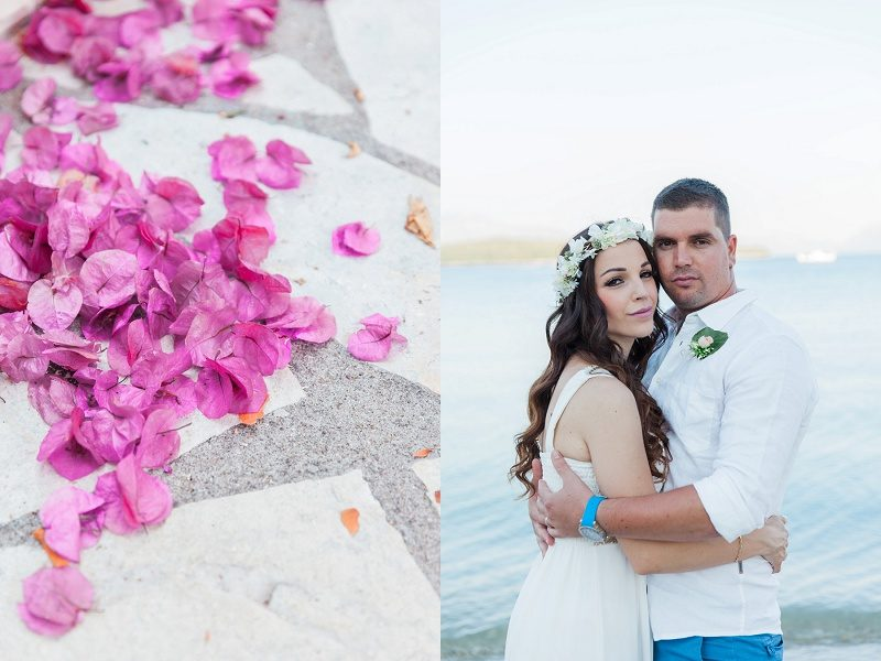 Pink Bougainvillea and Portrait of the Bride and Groom on Lefkada Island