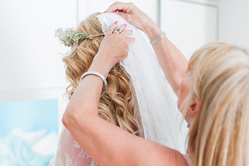 Bride's Mum Putting Her Viel In