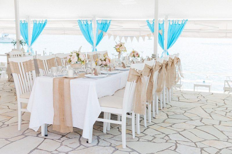 Vintage Wedding Setting At SeaSide Restaurant in Geni Lefkada