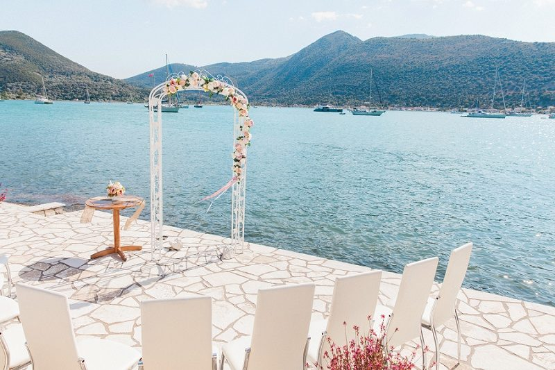 Pink and White Ceremony Set Up for a Vintage Wedding in Greece