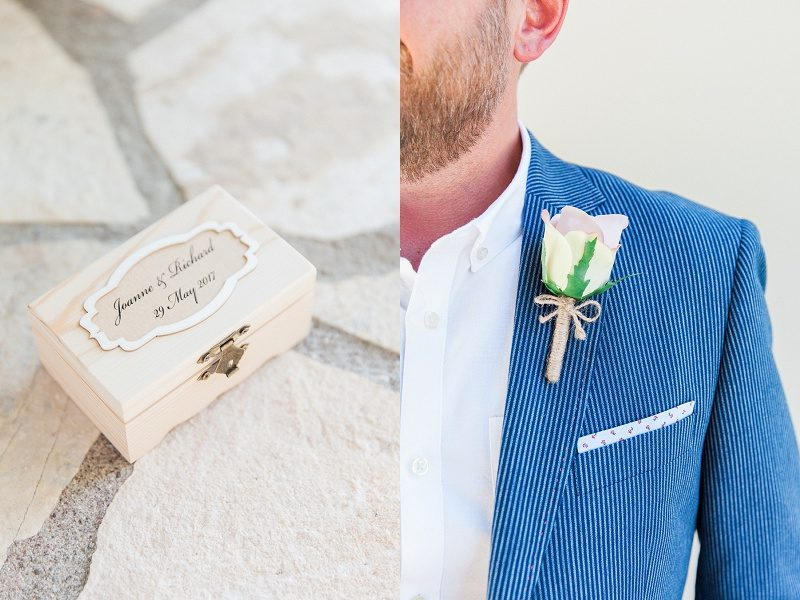 Grooms Details; Ring Box and Button Hole