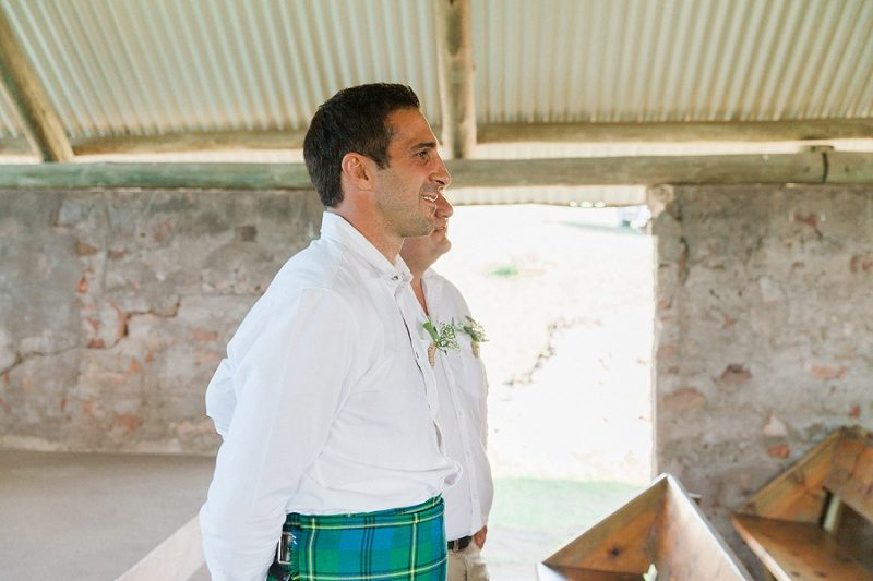 Groom in a Kilt Waiting for the Bride