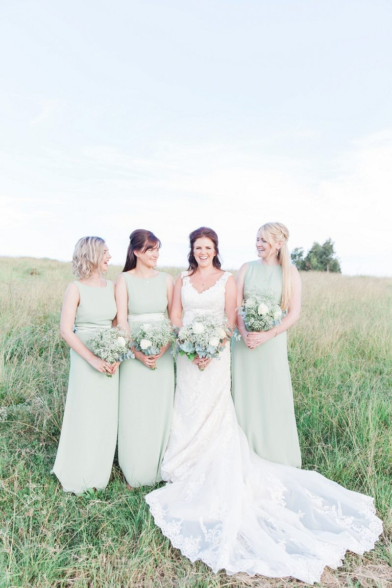 Bride with Bridesmaids in Pistachio Dresses