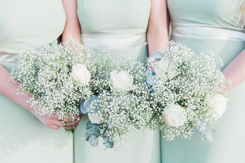 Eucalyptus and Rose Bridesmaids Bouquets