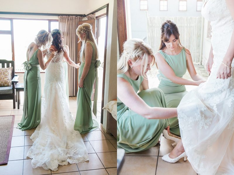Bridesmaids Helping Bride Dress at Lake Eland Game Reserve