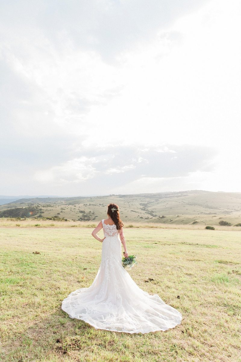 Bride in Provonias Dress at Lake Eland Game Reserve
