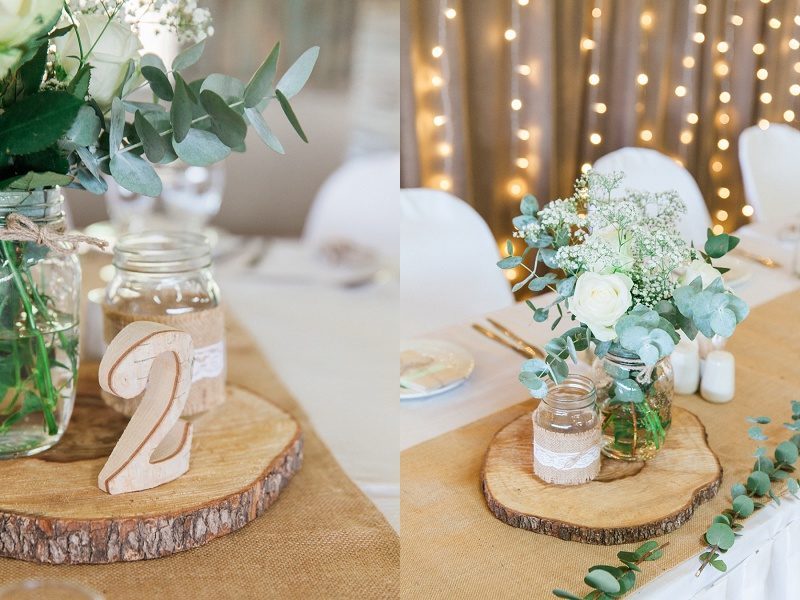 Rose and Eucalyptus Centrepieces with Wooden Table Numbers