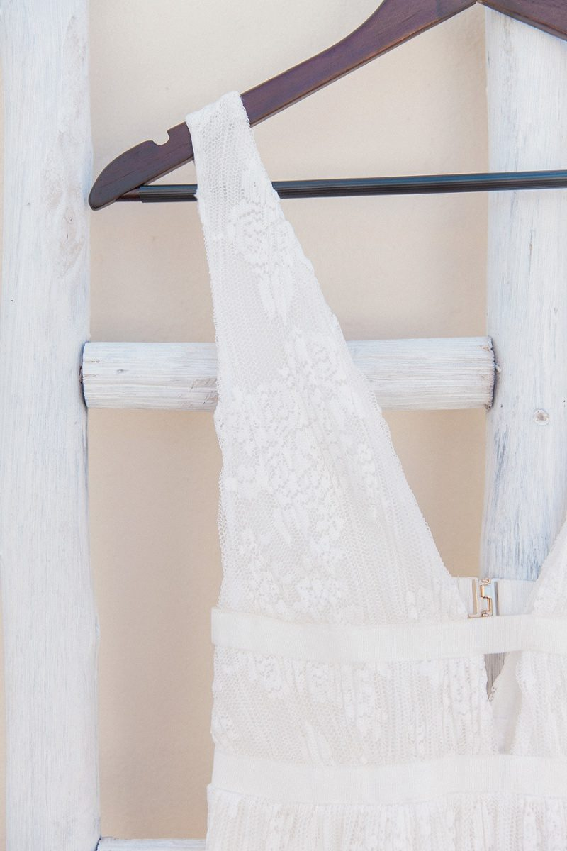 Close Up of Brides Dress at Mystical Blue in Santorini
