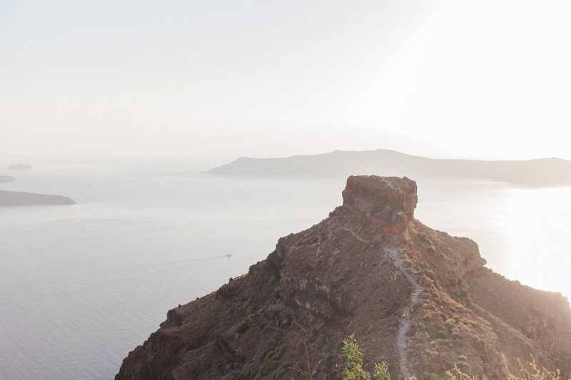 View of The Rock in Santorini Just Before Sunset