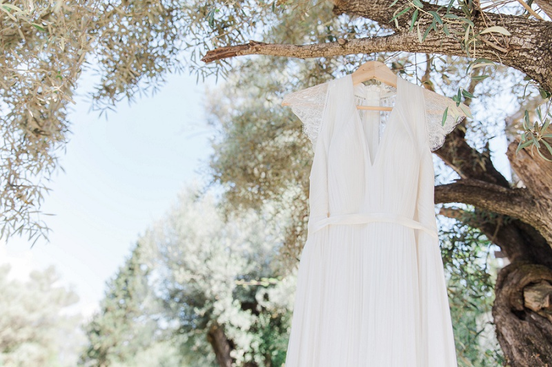 Laverne wedding dress by Catherine Deane hanging in an olive tree