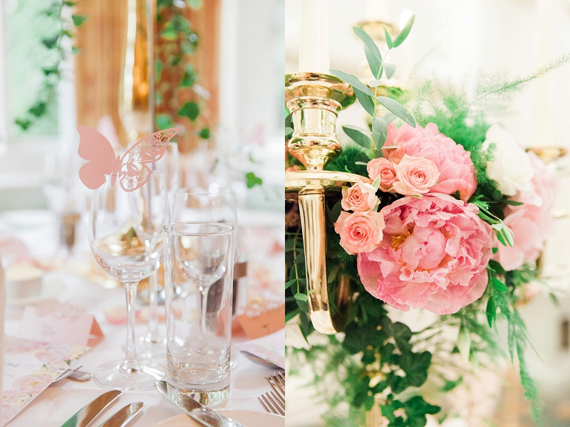 Close up of pastel flowers and table decor by Brian Kirkby Flowers for a wedding at Warren House