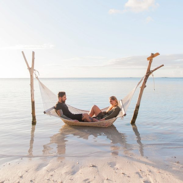 Mauritius Engagement Couple in a Hammock in the Indian Ocean
